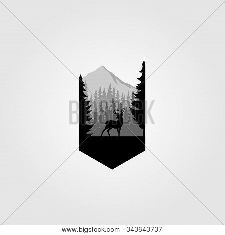 Willd Deer In Forest Mountain Adventure Silhouette Isolated On White Background. Vector Object For L