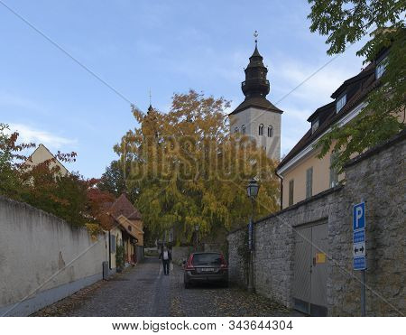 Visby, Sweden On October 11. Street View From A Walk In The Neighborhood Of The Dome On October 11,