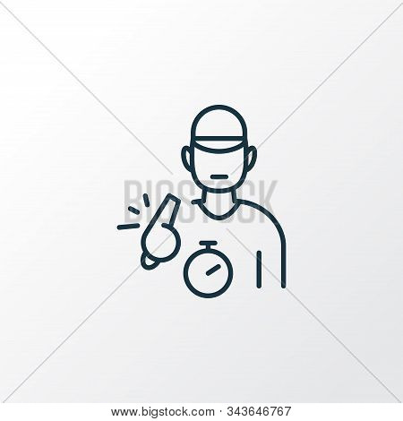 Trainer Icon Line Symbol. Premium Quality Isolated Coach Element In Trendy Style.
