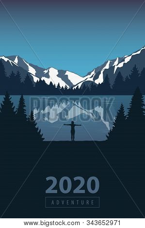 2020 Adventure Girl In The Mountains By The Lake In The Wilderness Landscape Vector Illustration Eps