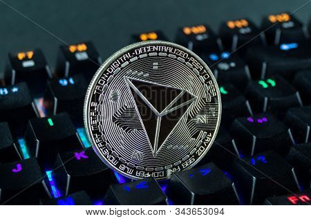 Coin Cryptocurrency Tron Close-up Of The Colour-coded Keyboard Background