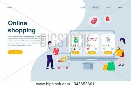 Modern Flat Web Page Design Template Of Online Shopping Decorated People Character For Website
