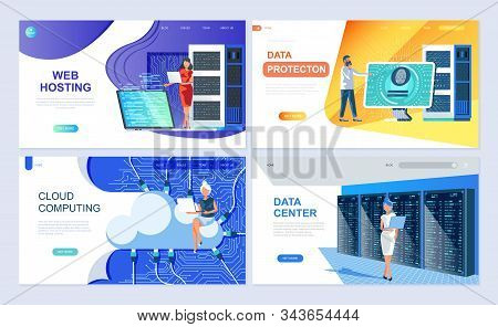 Set Of Landing Page Template For Hosting, Data Protection, Data Center, Cloud Computing. Modern Vect