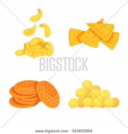 Vector Design Of Food And Crunchy Icon. Collection Of Food And Flavor Stock Vector Illustration.