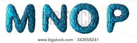 Realistic 3D letters set M, N, O, P made of low poly style. Collection symbols of low poly style blue color plastic isolated on white background 3d rendering
