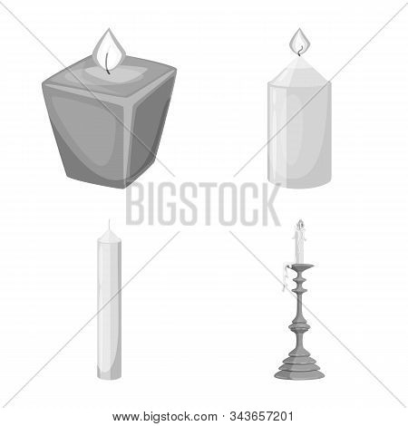 Vector Design Of Paraffin And Fire Logo. Collection Of Paraffin And Decoration Stock Symbol For Web.