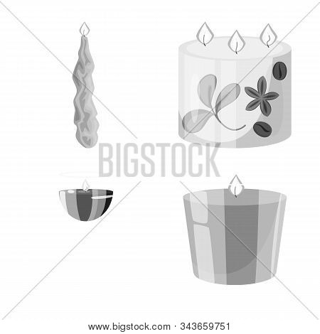 Vector Design Of Paraffin And Fire Logo. Collection Of Paraffin And Decoration Vector Icon For Stock