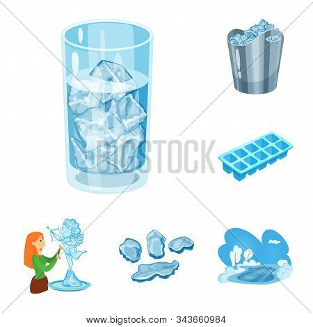 Vector Design Of Frost And Water Icon. Set Of Frost And Wet Stock Symbol For Web.