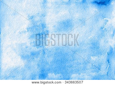 Beautiful Blue Colors. Abstract Watercolor Background For Your Design. Grunge Light Blue Watercolor
