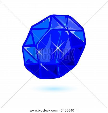 Natural Oval Cut Blue Sapphire. Beautiful Polished Mineral, Precious Stone Vector Illustration Isola