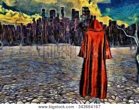 Surreal digital painting. Figure in cloak stands before desolate city in arid land. 3D rendering