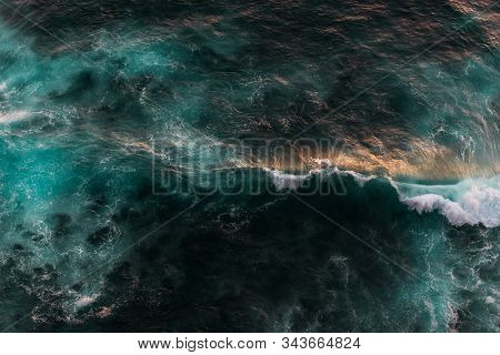 Sea Wave At Sunset. Sea Wave From Above. Seascape From The Top. Aerial Wave Background. Drone Shot D