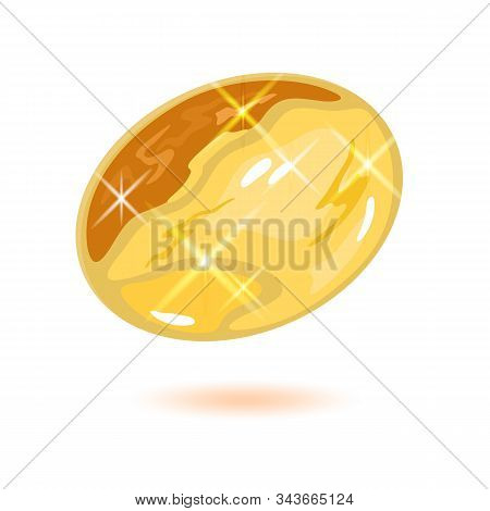 Sparkling Oval Shape Citrine Or Yellow Topaz. Beautiful Mineral, Gemstone Vector Illustration Isolat