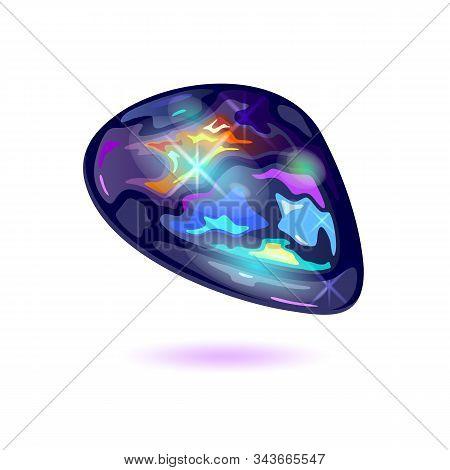 Amazing Black Fire Opal. Iridescent Mineral, Precious Stone, Mascot Vector Realistic Illustration Is