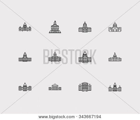 Us Capitols Icons Set. Dome And Us Capitols Icons With Architectural, Tennessee State Capitol And Al