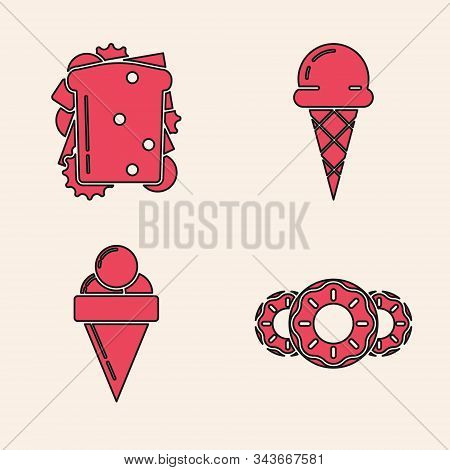 Set Donut With Sweet Glaze, Sandwich, Ice Cream In Waffle Cone And Ice Cream In Waffle Cone Icon. Ve