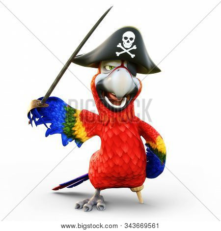 Pirate Parrot With Peg Leg, Posing With A Hat, Patch And Sword On An Isolated White Background. 3d R