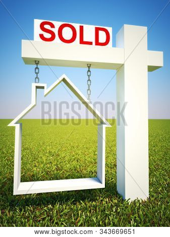 Real Estate Home Sold Concept Sign With Sky Background. 3d Rendering