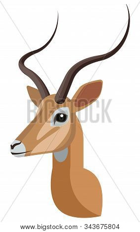 Impala Portrait Made In Unique Simple Cartoon Style. Head Of African Gazelle Or Antelope. Isolated A