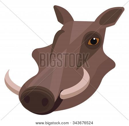 Warthog Portrait Made In Unique Simple Cartoon Style. Head Of Hog Or Pig With Tusks. Isolated Icon F