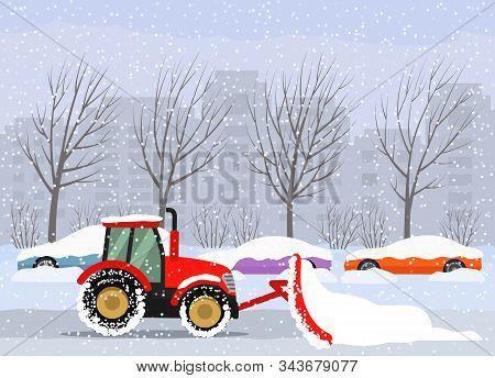 A Tractor Cleans The Road In The City After Heavy Snow And Hail. Parked Cars On The Street In Snowdr