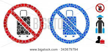 No Baggage Composition Of Round Dots In Various Sizes And Color Hues, Based On No Baggage Icon. Vect