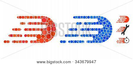 Rush Effect Composition Of Round Dots In Various Sizes And Color Tints, Based On Rush Effect Icon. V