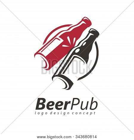 Toasting Beer Bottles Logo Design Idea For Friendly Pub Or Cafe Bar. Cheers Icon Template. Beer Chee