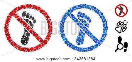 No Footprint Mosaic Of Small Circles In Variable Sizes And Shades, Based On No Footprint Icon. Vecto