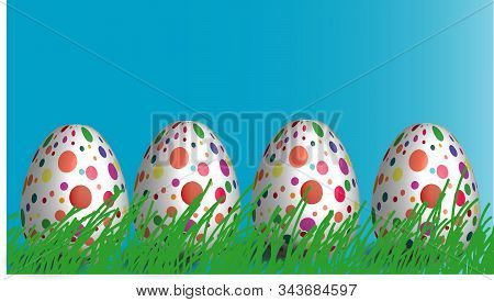 Easter Eggs. Happy Easter Card. Multi-colored Easter Eggs. Easter. Easter Eggs On Grass On A Blue Ba