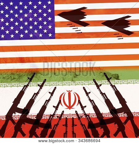 Confrontation Between Two States Of The Usa And Iran. Silhouette Of A Stealth Bomber On The Backgrou