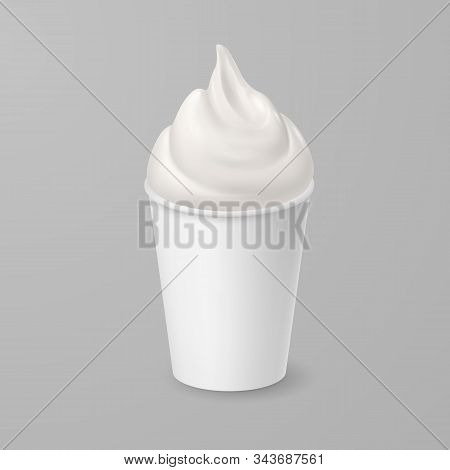 Whipped Soft Vanilla Ice Cream Or Fresh Yogurt In White Cardboard Cup. Isolated Illustration On Gray