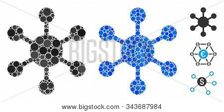 Network Node Mosaic Of Round Dots In Various Sizes And Shades, Based On Network Node Icon. Vector Do