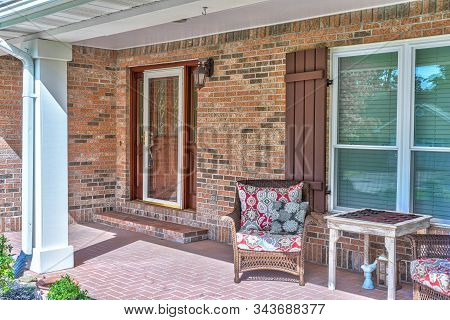 Horizontal Shot Of The Front Porch Of A Single-family Home.