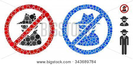 No Spy Mosaic Of Small Circles In Various Sizes And Color Tints, Based On No Spy Icon. Vector Small