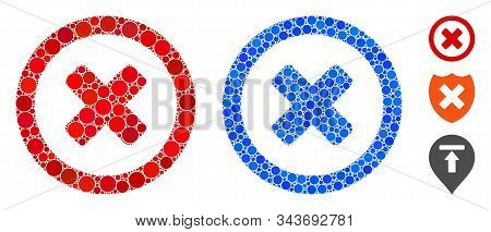 Wrong Composition Of Small Circles In Various Sizes And Shades, Based On Wrong Icon. Vector Small Ci