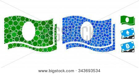 Banknotes Mosaic Of Round Dots In Various Sizes And Shades, Based On Banknotes Icon. Vector Small Ci