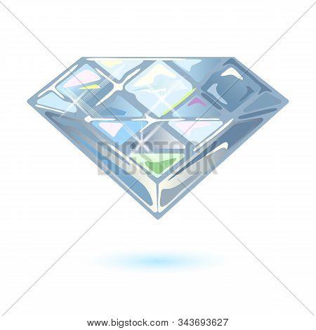 Shiny Brilliant Cut Diamond, Phianite Or Cubic Zirconia. Dazzling Transparent Gemstone For Using In
