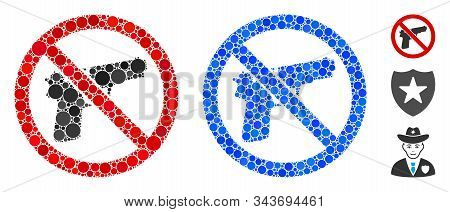 No Guns Mosaic Of Round Dots In Variable Sizes And Color Tints, Based On No Guns Icon. Vector Round