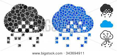 Cloud Dissipation Mosaic Of Small Circles In Various Sizes And Color Tints, Based On Cloud Dissipati