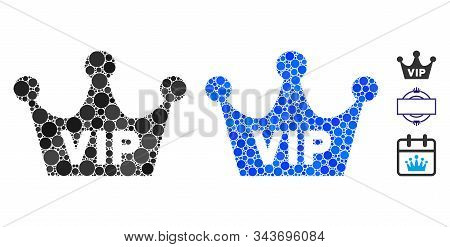Vip Crown Composition Of Spheric Dots In Variable Sizes And Color Tinges, Based On Vip Crown Icon. V