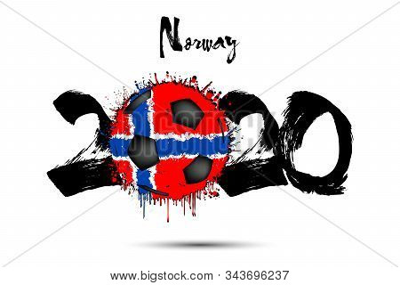 Abstract Numbers 2020 And Soccer Ball Painted In The Colors Of The Norway Flag In Grunge Style. Figu