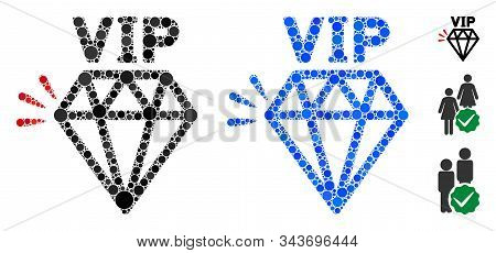 Vip Brand Composition Of Spheric Dots In Various Sizes And Shades, Based On Vip Brand Icon. Vector R