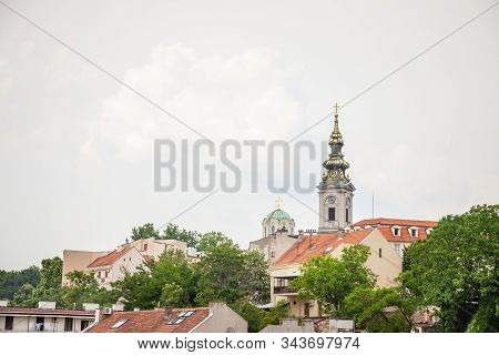 Panorama Of The Old City Of Belgrade With A Focus On Saint Michael Cathedral, Also Known As Saborna