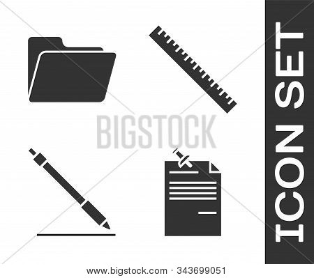 Set Note Paper With Pinned Pushbutton, Document Folder, Pen Line And Ruler Icon. Vector