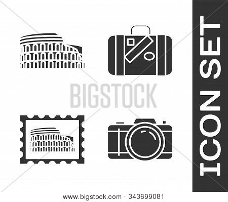 Set Photo Camera, Coliseum In Rome, Italy, Postal Stamp And Coliseum And Suitcase For Travel And Sti