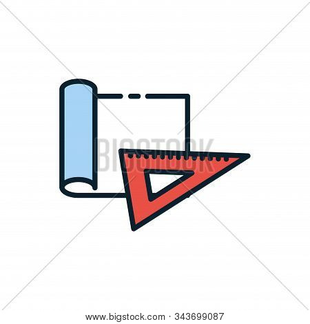 Ruler And Plans Design, Instrument Tool Work Measurement Lenght Object Inch Long And Distance Theme
