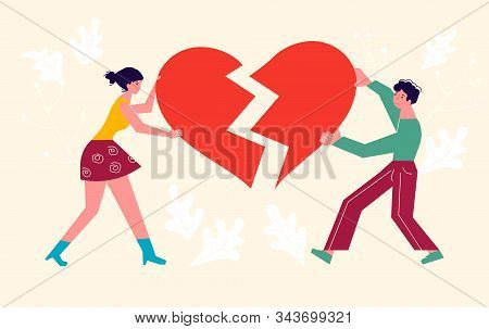 Metaphor Of Betrayal And Relationship. Man And Woman Carry Fragments Of The Heart. Connect A Broken