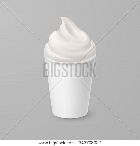 Whipped Soft Vanilla Ice Cream Or Fresh Yogurt In Blank Paper Or Cardboard Cup. Isolated Illustratio
