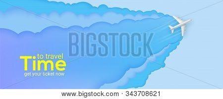 Silver Passenger Plane Flies Through The Clouds. Blue Sky Carved From Multi Layered Paper. Time To T